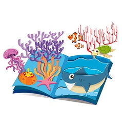 Book underwater and sea animals vector