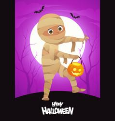 boy in halloween mummy costume cartoon character vector image
