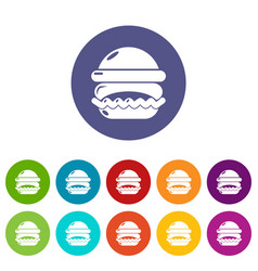 burger icons set color vector image