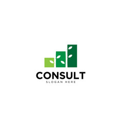 Business consulting and grow chart logo design vector