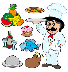 cartoon chef with various meals vector image