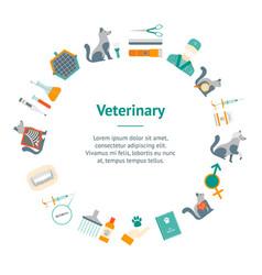 cartoon veterinary and grooming banner card circle vector image