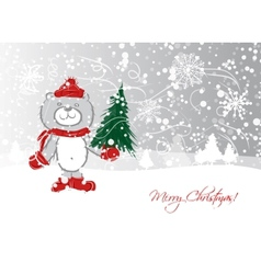 Christmas card design with funny bear vector