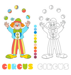 Circus clown juggler coloring book page vector