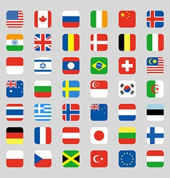 Collection flag icon rounded square flat design vector