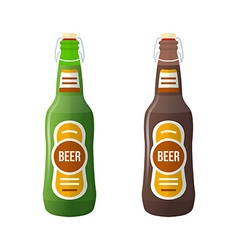 colored flat couple beer bottles lightning stopper vector image