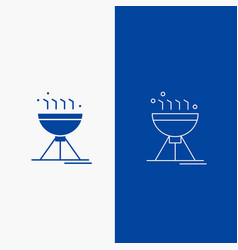 Cooking bbq camping food grill line and glyph web vector