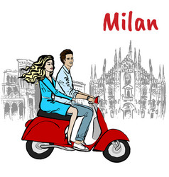 couple in milan vector image