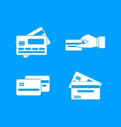 credit card icon blue set vector image