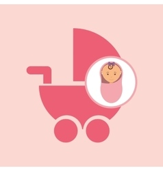 Cute newborn girl on pink blanket and pram vector