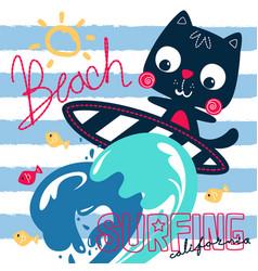 Cute surfer cat and big wave vector