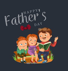 dad read book for childrens in park wooden bench vector image
