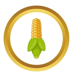 Ear of corn with green leaves icon vector