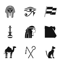 Egypt history icons set simple style vector