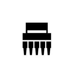 electronic chip flat icon vector image