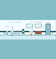 empty hospital hall or corridor interior flat vector image