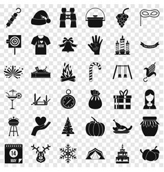 Family tradition icons set simple style vector