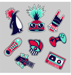 fashion patches set bright bages collection vector image