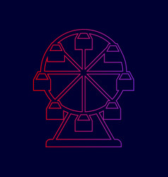 ferris wheel sign line icon with gradient vector image