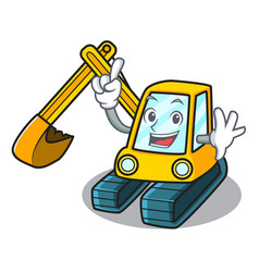 finger excavator mascot cartoon style vector image