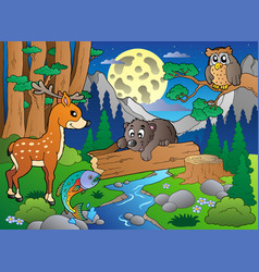 Forest scene with various animals 2 vector