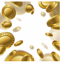 Fortune realistic 3d gold empty coins flying on vector