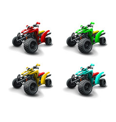 Four quad bikes in different colours vector