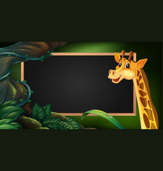 Frame template with wild giraffe vector