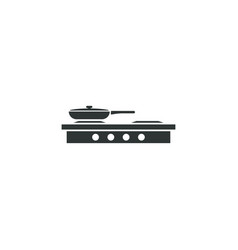 frying pan on stove icon simple food element vector image