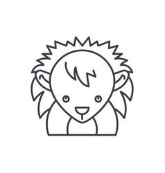 funny hedgehog line icon concept funny hedgehog vector image