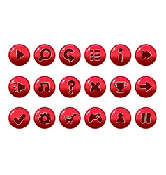 Glossy red buttons for all kinds of casual vector