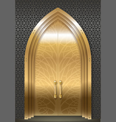 Golden door of the palace vector