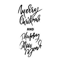 Handdrawn merry christmas card happy new year vector
