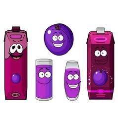 Happy purple plum with cartoon juice drinks vector image