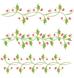 Holly ornaments vector image