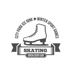 Ice skating label logo design elements vector
