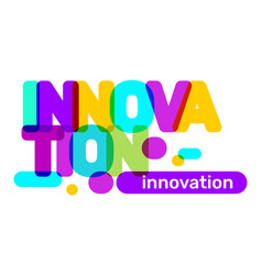 innovation broken text colored rainbow technology vector image
