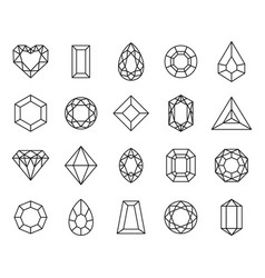 jewels diamond line icon and outline gemstones vector image