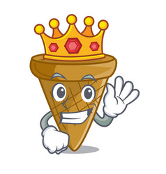 King sweet wafer cone isolated on maskot vector