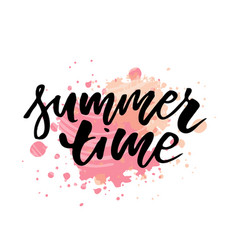 lettering with phrase summer time watercolor vector image
