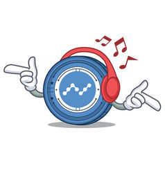 Listening music nano coin mascot cartoon vector