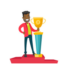 Man standing on the pedestal with business award vector