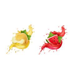 Melon in yellow juice splash watermelon splash vector