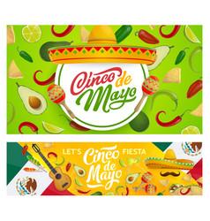 mexican sombrero maracas and cinco de mayo food vector image