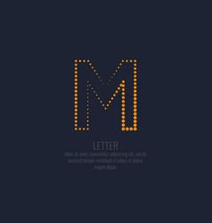 modern dotted letter m latin alphabet vector image