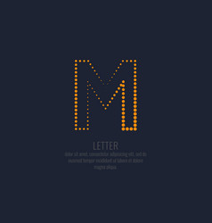 modern dotted letter m of the latin alphabet vector image