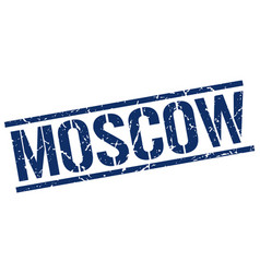 Moscow blue square stamp vector