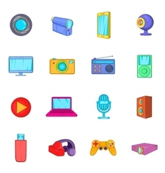 Multimedia icons set cartoon style vector image
