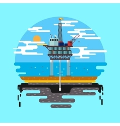 Oil platform sea flat vector