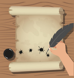 old scroll and feather hand hold vector image